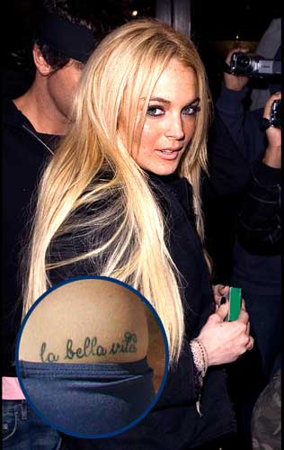 lindsay lohan la bella vita tattoo